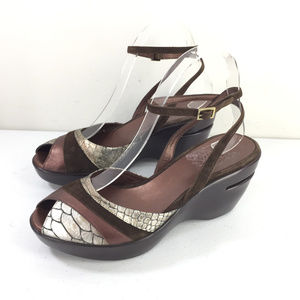 Cole Haan 8.5 Wedge Sandals Ankle Strap Brown